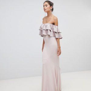 Silver Bloom Bandeau Frill Front Dusky Violet Maxi Dress - Liyanah