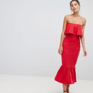 True Violet Bandeau Frill Midi Red Dress With Pephem - Liyanah