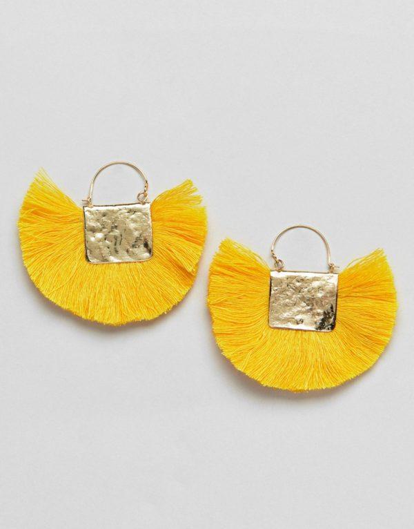 ASOS DESIGN Hammered Fan Gold Tassel Earrings - Liyanah