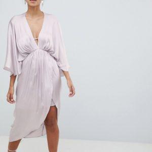 ASOS DESIGN Midi Plunge Kimono Silver Pink Grey Dress In Satin - Liyanah