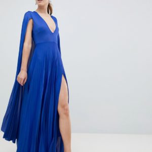 ASOS DESIGN blue cape pleated maxi dress - Liyanah