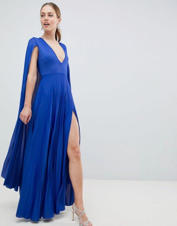 ASOS DESIGN blue cape pleated maxi dress - Liyanah