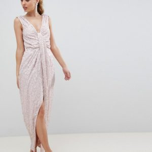 ASOS DESIGN drape knot front scatter embellished sequin maxi dress - Liyanah