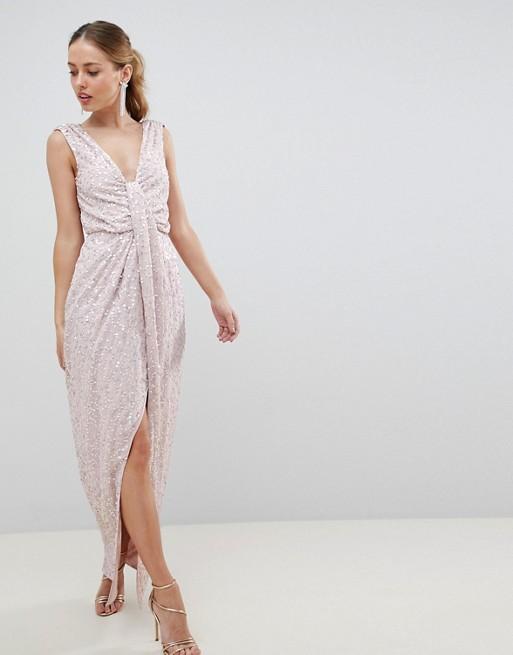 ASOS DESIGN drape knot front scatter embellished sequin maxi dress - Liyanah