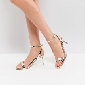 ASOS HALF TIME Barely There Champagne Heeled Sandals - Liyanah