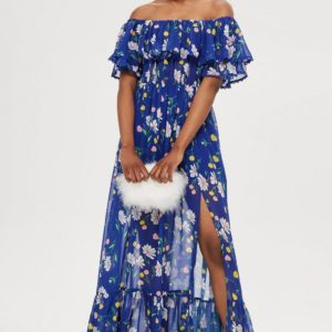 Blue Floral Bardot Maxi Dress Off Shoulder - Liyanah