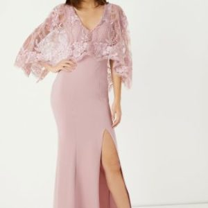 Lipsy Raksha Lace Pink Cape Maxi Dress - Liyanah