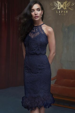 Lipsy Vip Lace Feather Hem Navy Bodycon Dress Liyanah
