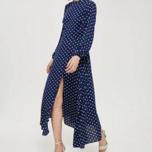 Polka Dot White Blue Print Open Back Maxi Dress - Liyanah