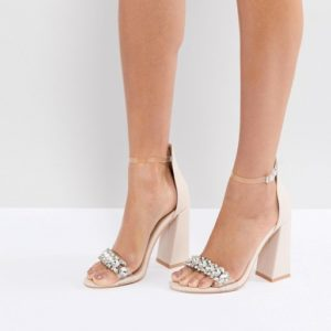 Public Desire Winona Embellished Nude Block Heeled Sandals - Liyanah