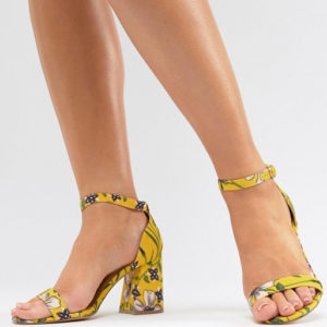 River Island Wide Fit Floral Yellow Block Heeled Sandals - Liyanah