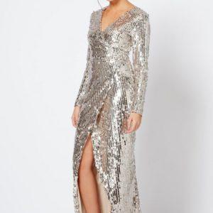 Sequin Wrap Dress by Club L - Liyanah