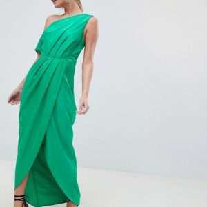 ASOS DESIGN One Shoulder Green Maxi Dress In Hammered Satin - Liyanah
