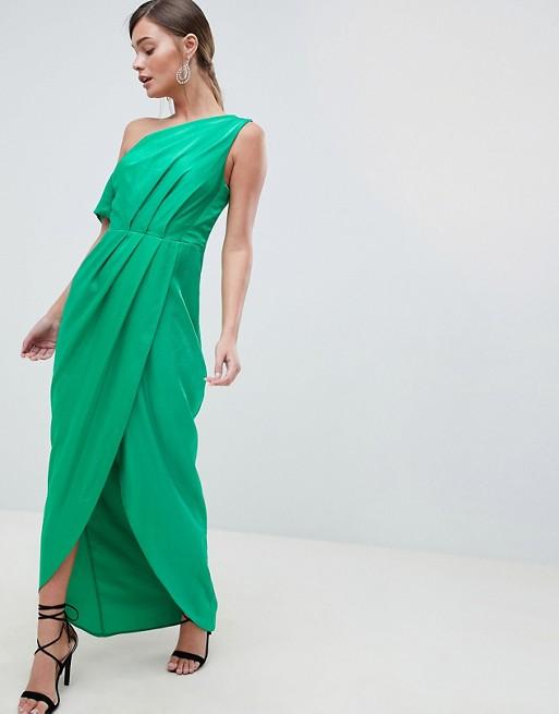 ASOS DESIGN One Shoulder Green Maxi Dress In Hammered Satin - Liyanah