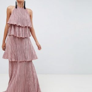 ASOS DESIGN mink tiered plisse maxi dress - Liyanah
