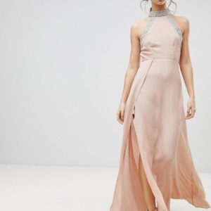 ASOS Embellished Trim Backless Nude Pink Maxi dress - Liyanah