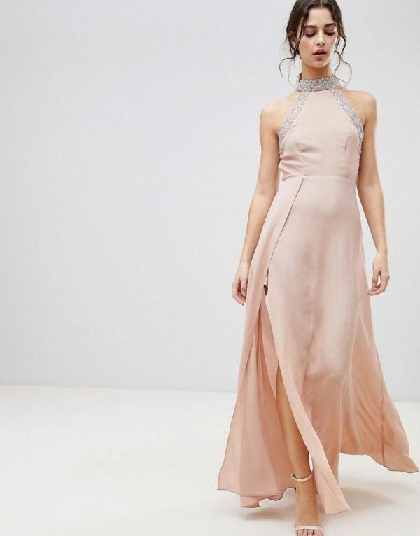 ASOS Embellished Trim Backless Nude Pink Maxi dress - Liyanah
