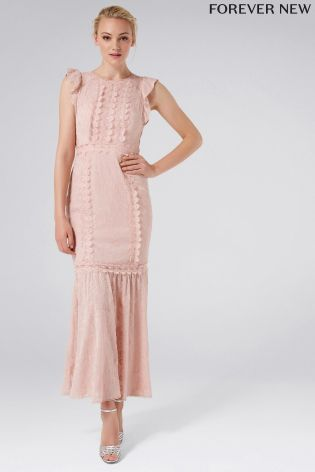 Forever New Embellished Trim Pink Maxi Dress - Liyanah