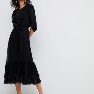 Ghost 3-4 sleeve black lace detail dress - Liyanah
