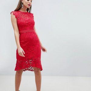 Lipsy Lace Flippy Hem Red Midi Dress - Liyanah