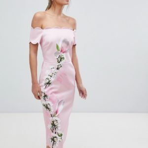 Ted Baker Scalloped Pink Bodycon Dress in Harmony Floral - Liyanah