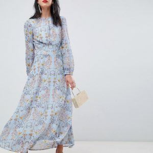 Unique 21 blue floral dress with pink belt - Liyanah