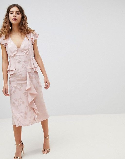 ASOS DESIGN Soft Floral Jacquard Pink Midi Tea Dress With Ruffle Hem - Liyanah