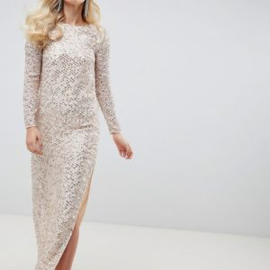ASOS DESIGN all over sequin cowl back beige maxi dress