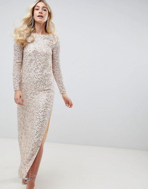 ASOS DESIGN all over sequin cowl back beige maxi dress