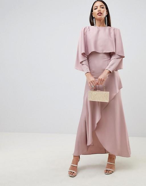 ASOS DESIGN crop top kimono satin mink pink maxi dress with split skirt - Liyanah