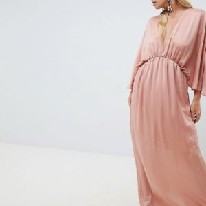 ASOS DESIGN kimono maxi dress in satin - Liyanah