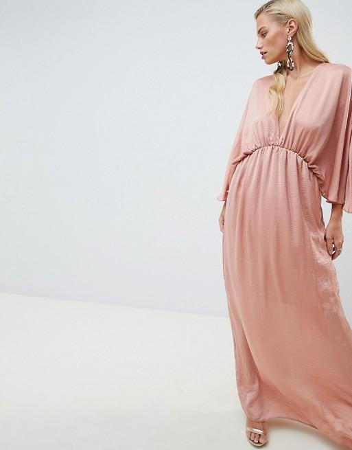 ASOS DESIGN kimono maxi dress in satin - Liyanah