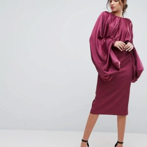 ASOS Extreme Sleeve Plum Satin Midi Pencil Dress - Liyanah
