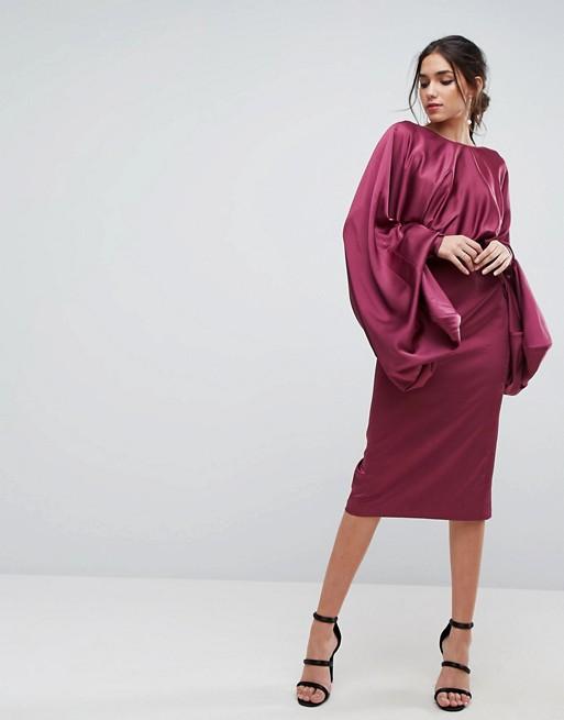 ASOS Extreme Sleeve Plum Satin Midi Pencil Dress - Liyanah