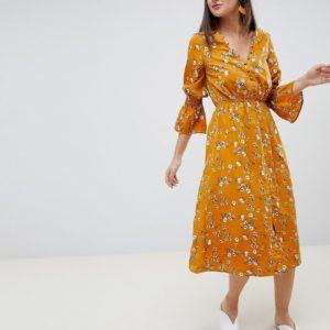 Influence yellow mustard floral button down midi dress - Liyanah
