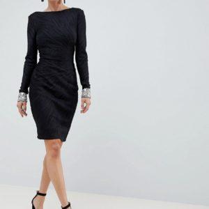 Jovani Textured Black Midi Dress With Encrusted Cuffs - Liyanah