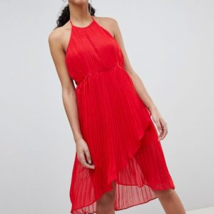 Missguided Red Pleated Halterneck Midi Dress - Liyanah