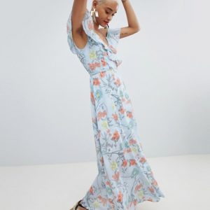 PrettyLittleThing Blue Floral Wrap Maxi Dress - Liyanah