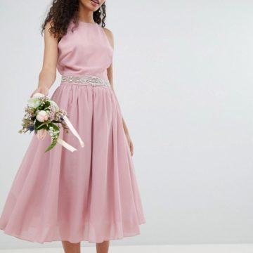TFNC Embellished Pink Midi Bridesmaid Dress with Full prom skirt - Liyanah