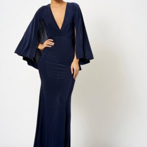 Topshop Cape Slinky Wrap Over Navy Maxi Dress by Club L - Liyanah
