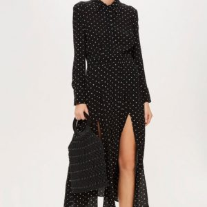 Topshop Spot Pleat Shirt Dress - Liyanah