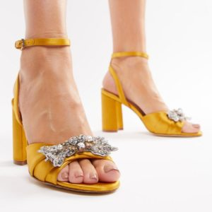 ALDO Embellished Mustard Heeled Yellow Sandals - Liyanah.co