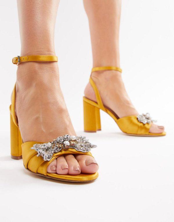 ALDO Embellished Mustard Heeled Yellow Sandals - Liyanah.co