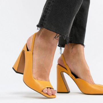 ASOS DESIGN Hinton Premium Leather Yellow Heeled Sandals - Liyanah.co