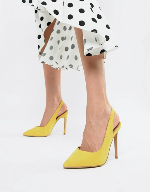 ASOS DESIGN Pepper pointed slingback yellow high heels - Liyanah.co