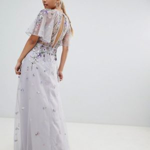 ASOS DESIGN Petite Bridesmaid floral embroidered dobby mesh flutter sleeve grey maxi dress - Liyanah