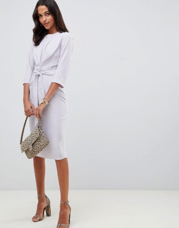 ASOS DESIGN tie wrap around grey midi dress