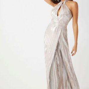 Lipsy Metallic Pleated Halterneck Maxi dress - Liyanah.co