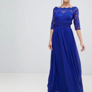 Little Mistress blue lace maxi dress