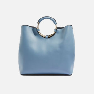 Metal Handle Blue Tote Bag - Liyanah